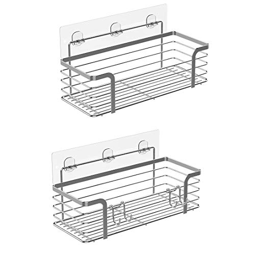 KESOL Adhesive Shower Shelf Bathroom Organizer Shower Caddy Wall Basket for Bathroom and Kitchen, SUS304 Stainless Steel, No Drilling, 2 Pack