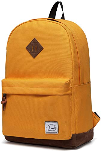 Vaschy Unisex Classic Water Resistant School Backpack Bookbag for College Fits 14Inch Laptop Yellow (Best Herschel Backpack For High School)
