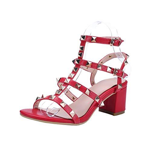 7CM Boucle Vaneel Femme Bloc Rouge Valxrt Chaussures Sandales ZSZIEq