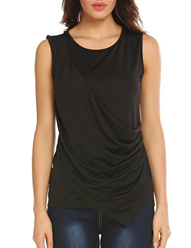 Concep Womens Cowl Neck Ruched Sleeveless Blouse Casual Slim Fitted Shirt Tank Tops (Black, XL)