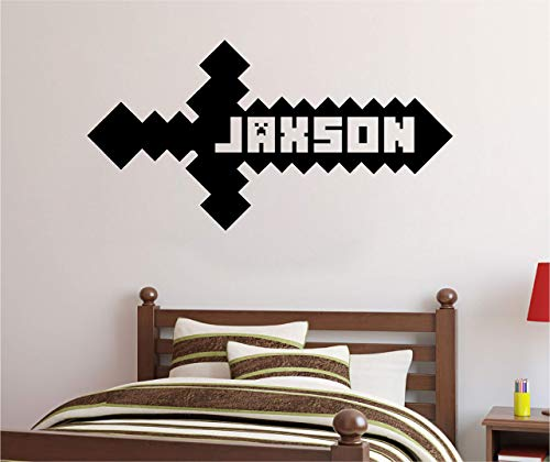 Personalized Custom Video Gamer Sword Name Wall Decal Sticker Customized Sign Monogram Stencil Choose Size Color from WallPressions