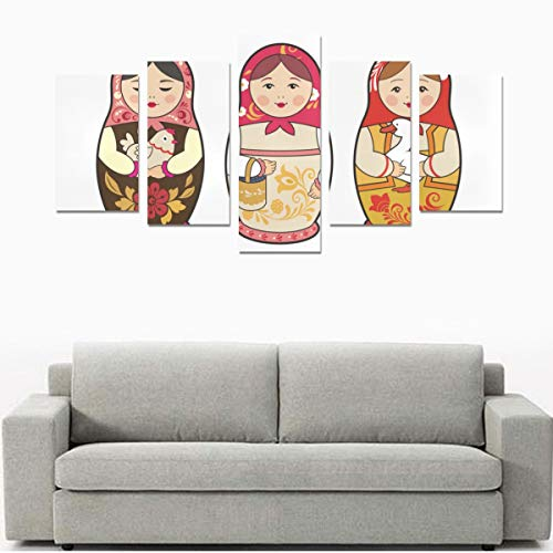 - HYTCSY Wall Art Print Unframed Artwork Set of Russian Nesting Dolls No Frame 5 Pieces Paintings Posters Prints On Canvas Hang for Bedroom Home Office Wall Decor