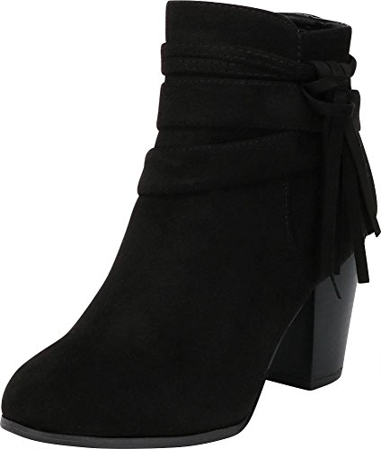 - Cambridge Select Women's Closed Round Toe Wraparound Strap Tassel Knot Chunky Stacked Block Heel Ankle Bootie,9 B(M) US,Black IMSU