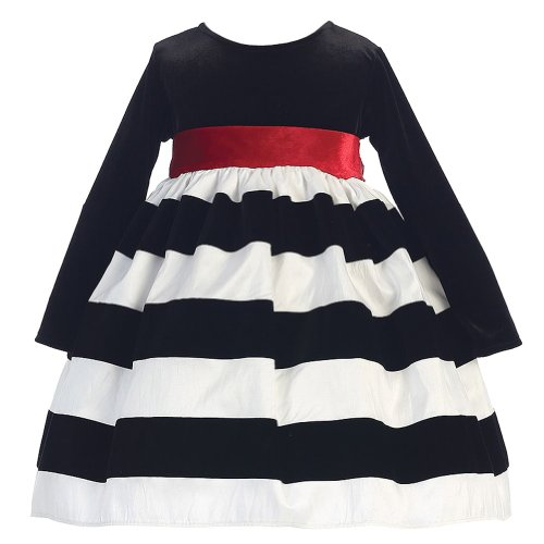 Girls Black White Christmas Dress - 4