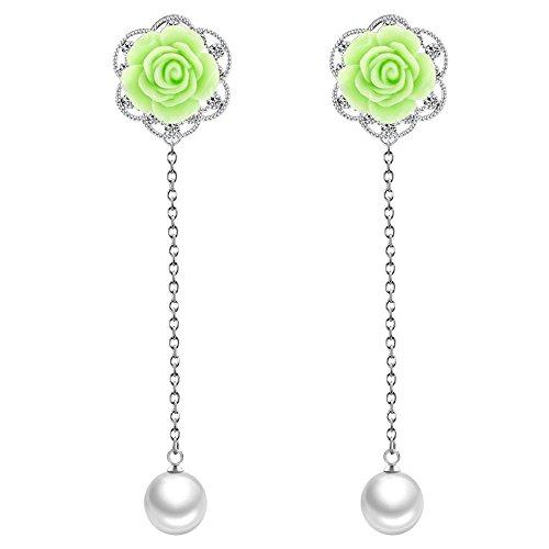 Winter's Secret Sweet Green Diamond Accented Rose Flower Silver Long Pearl Dangle Pendant Stud Earring