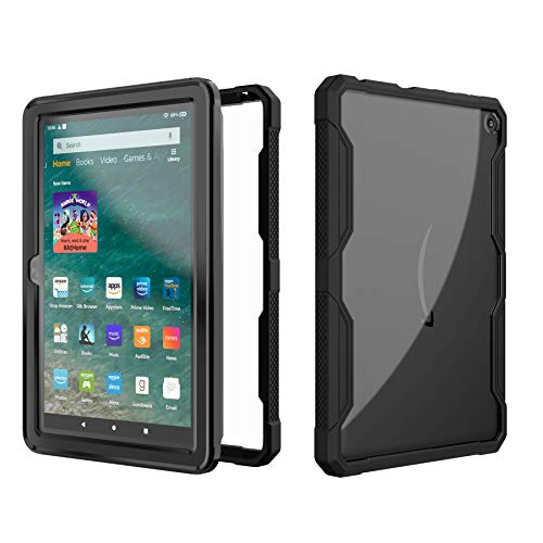 EpicGadget Case for Amazon Fire HD 8 / Fire HD 8 Plus (10th Generation, 2020 Released) – Clear Back Full Body Dual Layer…