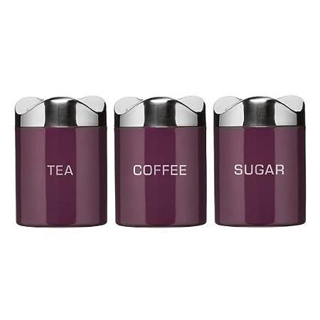 Set Of 3 Houston Purple Enamel Tea Coffee Sugar Jars