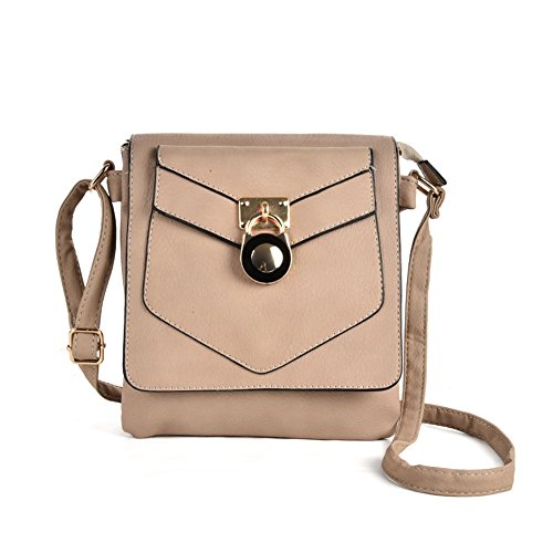 SALLY YOUNG Fashion Women High Quality PU Leather Lock Detail Boxy Cross Body Bag With Strap Grey