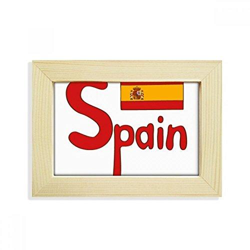 DIYthinker Spain National Flag Red Pattern Desktop Wooden Photo Frame Picture Art Painting 5x7 inch by DIYthinker
