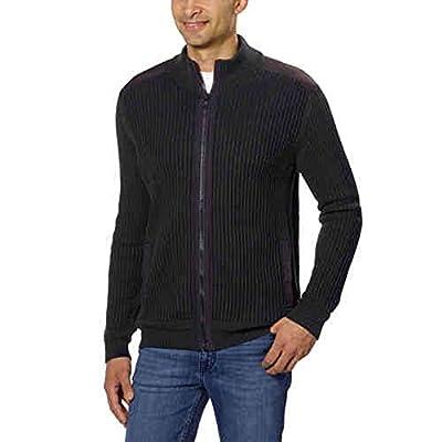 Calvin Klein Men's Fisherman Ribbed Knit Sweater (Black, Large)