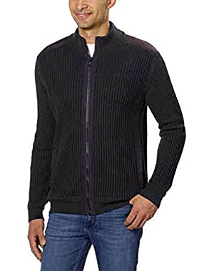 Calvin Klein Men's Fisherman Ribbed Knit Sweater (Black, Large)