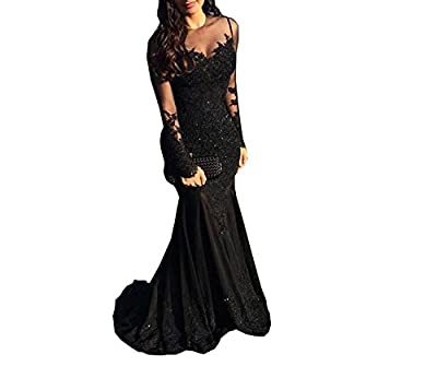 MJBridal Elegant Sheer Long Sleeve Black Mermaid Prom Dress Sequins Lace Tulle Evening Dress