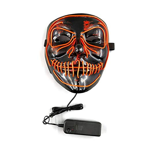 El Luminous Mask Halloween Ghost Dance Party, Glowing Mask Scary With Flash Blood Horror Thriller Mask, With An Elastic Band And The Size Can Be Adjusted According To The Needs -