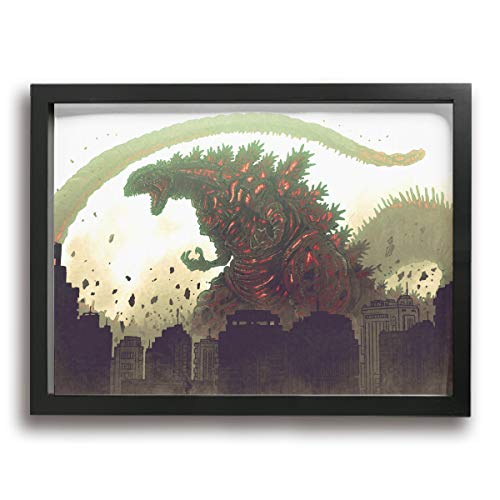 Little Monster Godzilla Stretched Painted On Canvas Decorations Occident Style Art for Boys and Girls Bedroom Black -