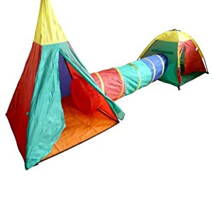 Pop Up Play Tents And Tunnel Set - Set contains 3 pieces by Value 4 Money