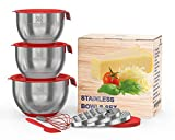 LUXURY SET for Smart Chefs,3 Premium Thick Grade STAINLESS STEEL MIXING BOWLS With Airtight Lids For Healthy Meal,Non-Slip Surface,3 Assorted Grater Attachments,Stackable For Minimal Storage&Gift Pack