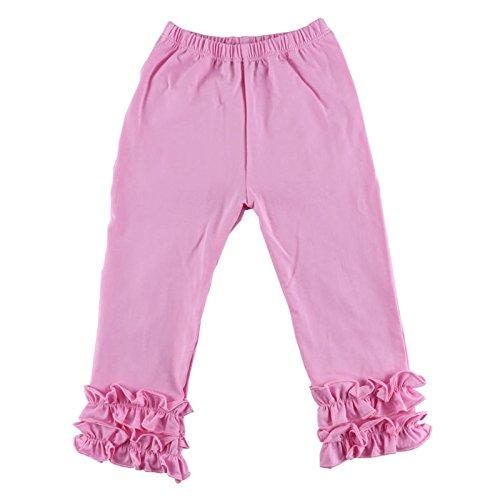 VduanMo Little Girl's Ruffle Leggings Toddler Girl Ruffle Pants 1-6 Years Small Pink