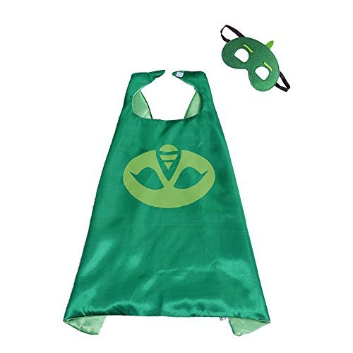 Tinley Warehouse Superhero Cape and Mask Costume Set Boys Girls Birthday Halloween Play Dress Up (Gekko) ()
