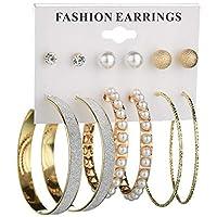 Yellow Chimes 6 and 9 Pairs Assorted Multiple Stud Earrings Big Hoop Tassel Drop Pearl Earrings for Women and Girls