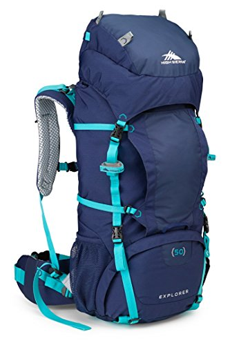 High Sierra Women's Explorer 50L Top Load Internal Frame Backpack Pack, High-Performance Pack for Backpacking, Hiking, Camping, True Navy/True Navy/Tropic Teal