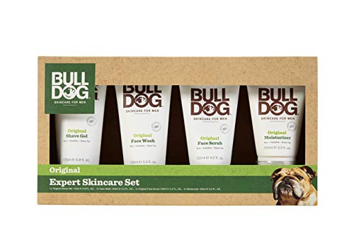 Bulldog Mens Skincare and Grooming Expert Skincare Set Including Shave Gel, Face Wash, Face Scrub & Facial Moisturizer
