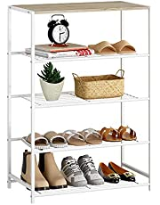 HOME BI Industrial Shoe Rack, Metal Shoe Storage Organizer, Shoe Storage Bench with Stable Metal Frame, Durable Shoe Organizer Shelf for Closet, Hallway, Entryway, Living Room