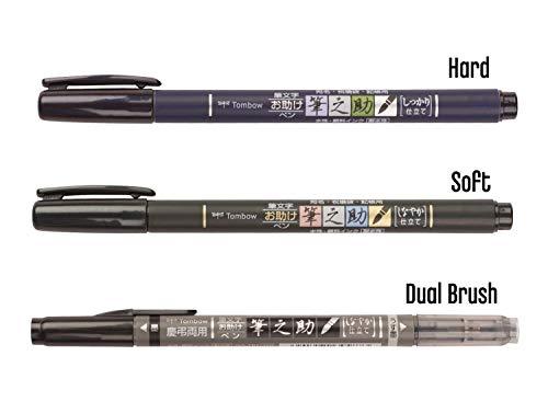 Tombow Fudenosuke Brush Pen 3 Type Set, Hard (GCD-111), Soft (GCD-112), Dual Brush(GCD-121), Original 5 Colors Sticky…