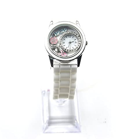 Bella Jewelry Stylish Diamante Silicone Band Floating Charm Watch Quartz diy Rhinestone Wristwatche (Paul Jardin Watch Quartz)