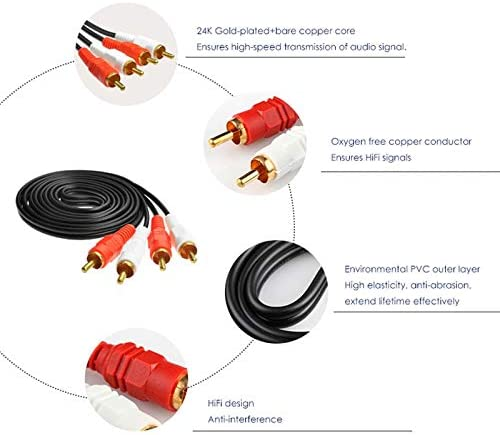 Cable Length: 150cm Computer Cables 1pcs Premium RCA Audio Video AV Cable 2RCA Male to 2 RCA Male Gold-Plated 1.5M 3M 5M 10M 20M Available Yoton