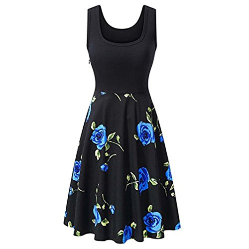 Price comparison product image ARINLA 2018 Summer popular skirt vintage print Bodycon sleeveless party prom dress sweet