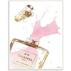 The Stupell Home Decor Collection Stupell Industries Glam Perfume Bottle Splash Pink Gold Wall Plaque Art, Proudly Made in USA