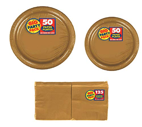 Amscan Big Party Supplies Pack Solid Gold Color Bundle set for 50 Guests 9