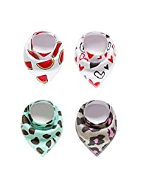 yiqiansw Baby Bandana Drool Bibs,Cotton Soft Absorbent Breathable Bibs Scarf with Snaps,4 Pcs