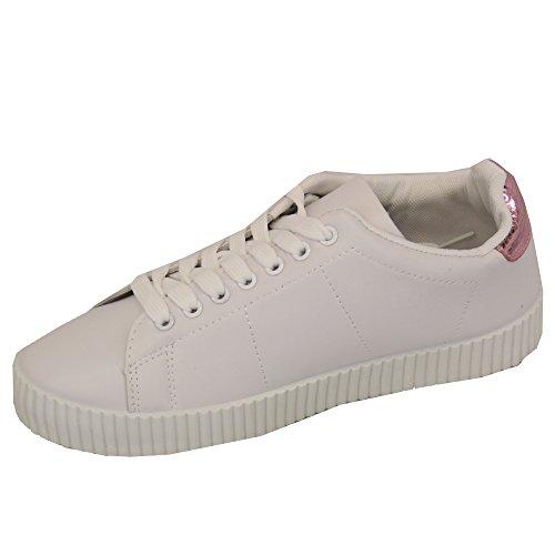 Damen Sportschuhe Schnürschuhe Leder Verwaschen Tennisschuhe Pumps Neu weiß/Pink - 20181