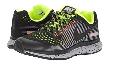 Nike Air Zoom Pegasus 34 Shield (Gs) Size 2Y Girls Running Black/Black-Volt-Wolf Grey Shoes by NIKE