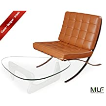 MLF Barcelona Chair + Isamu Noguchi Table (Chair: Light Brown Aniline Leather, Table: White Birch Wood)(40 Combinations)