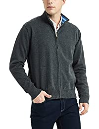 Men's Cotton Blend Full Zip Cardigan Sweaters Relaxed Fit Outwear with Pockets