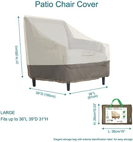 PHI VILLA Patio Lounge Chair Club Chair Cover, Durable Waterproof Outdoor Furniture Cover, Large, L36 x D39 x H31