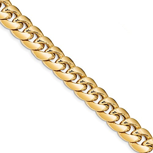 Diamond2Deal 14k Yellow Gold 12.6mm Semi-Solid Miami Cuban Bracelet 8inch from Diamond2Deal