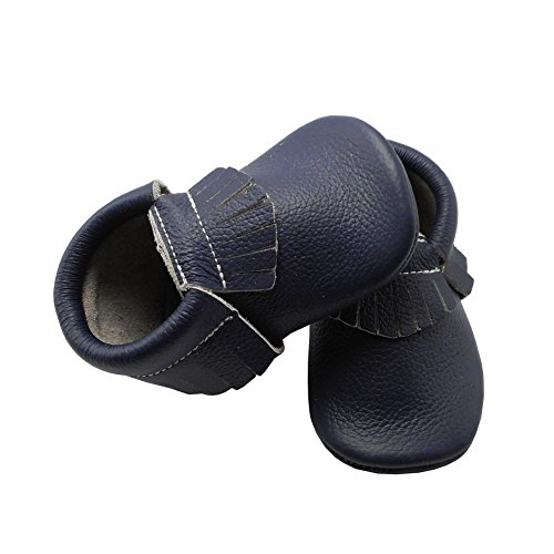 YIHAKIDS Baby Tassel Shoes Soft Leather Sole Infant Shoes Baby Moccasins Crib Shoes Navy Blue(size 6.5,12-18 months/5.3in) - Image 4