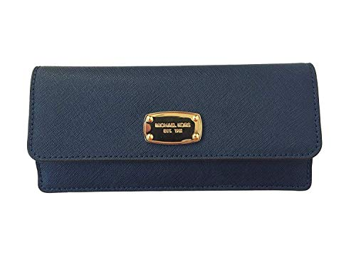 Michael Kors Jet Set Travel Flat Wallet in Navy Saffiano Leather with Golden Hardware