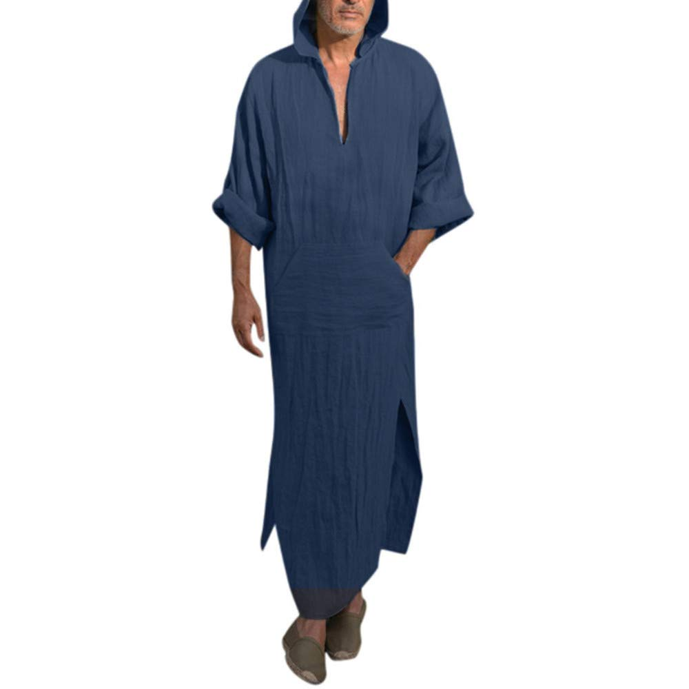 UJUNAOR Fashion Mens Ethnic Robes Loose Solid Long Sleeve Loose Hooded Vintage Dress Kaftan Robe