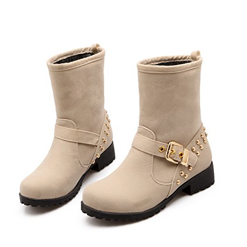 AllhqFashion Womens Pull On Imitated Suede Round Closed Toe Low Heels Solid Boots Beige NLWnardqSS