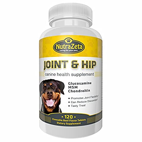Premium 800mg Glucosamine for Dogs Hip & Joint Supplement - 120 Chewable Tabs with Glucosamine Chondroitin MSM Vitamins - Best Dog Joint Care - Aids Mobility - Made USA - 100% Guarantee