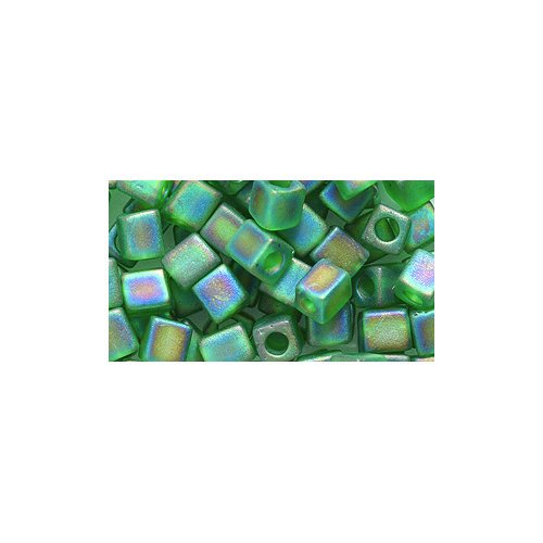 - Miyuki Seed Cube Bead SB4-146FR, 4 by 4mm, Transparent Green Matte Aurora Borealis Finish, 25-Gram/Pack