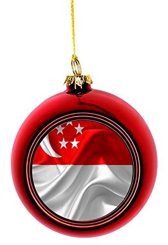 Lea Elliot Inc. Flag Singapore Bauble Christmas Ornaments Red Bauble Tree Xmas Balls (Singapore Tree Christmas)