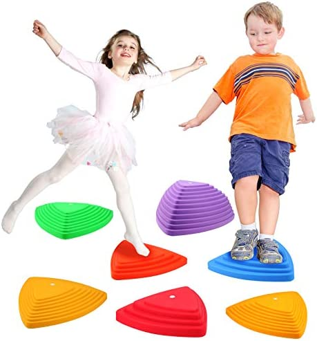Gentle Monster Stepping Stones for Kids, Set of 6 Pcs for Balance with Non-Slip Bottom – Exercise Coordination and Stability, Perfect Indoor and Outdoor Play Equipment for Kids, Unique Birthday Gift
