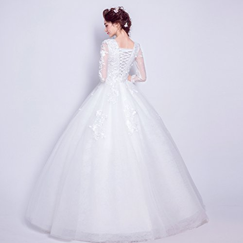 Prom Dress Bridesmaid Lace Sleeve Women's White White Ball BessWedding Long Long Scoop 7p1qza