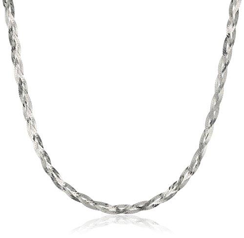 Silver Braided Necklace (Italian Sterling Silver Three-Strand Diamond Cut Braided Herringbone Necklace, 18