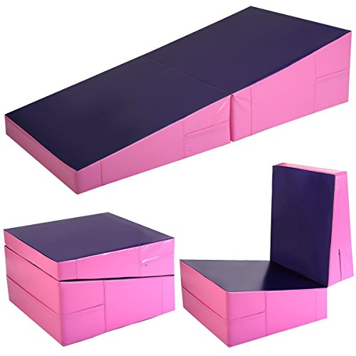 Mat Ramp (Giantex Incline Gymnastics Mat Wedge Folding and Non-Folding Gymnastics Gym Fitness Skill Shape Tumbling Mat for Kids Play Home Exercise Aerobics (Pink/Purple))